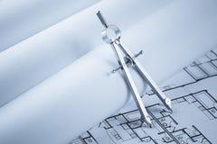 Het Kompas van de tekening op de Documenten van de Blauwdruk Royalty-vrije Stock Foto
