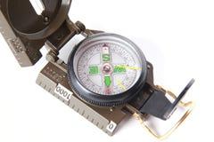 Het kompas van de toerist over wit Royalty-vrije Stock Afbeelding