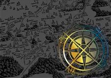 Het kompas van het chroom Royalty-vrije Stock Foto