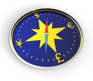 Het kompas van het geld Stock Afbeeldingen