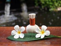 Het kompresballen van de kuuroordmassage, kruidenbal met bloem, Thailand Stock Fotografie