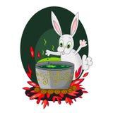 Het konijn brouwt een drankje Royalty-vrije Stock Afbeeldingen