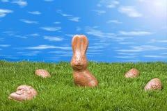 Het konijn en de eieren van Pasen Royalty-vrije Stock Foto's