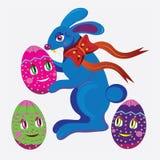 Het konijn en de eieren van Pasen. Royalty-vrije Stock Foto