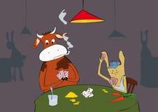 Het konijn en de koe zijn speelkaarten. Royalty-vrije Stock Afbeelding