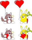 Het konijn en het puppyhondstuk speelgoed van het beeldverhaal en rood hart Royalty-vrije Stock Foto's