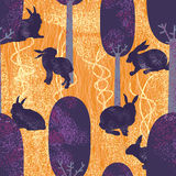 Het konijn purper oranje naadloos patroon van het cirkelstof Royalty-vrije Stock Foto's