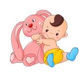 Het konijn van de babyomhelzing Stock Afbeeldingen