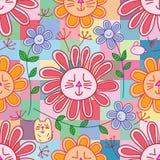 Het konijn van de kattenbloem zoals naadloze patroon van het chrysunthemum het vrije bloemblaadje stock illustratie