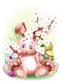 Het Konijn van Pasen met de Bloesems van de Perzik Royalty-vrije Stock Afbeeldingen