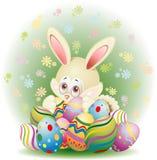 Het Konijn van Pasen met Eieren Royalty-vrije Stock Fotografie