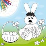 Het konijn van Pasen met eieren en mand Stock Afbeelding