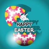Het konijn van Pasen met Paasei Stock Foto's