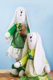 Het konijntje van de Tildalente met narcissen Stock Foto's