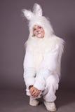 Het konijntje van het meisje Stock Afbeeldingen