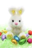 Het Konijntje van het Stuk speelgoed van Pasen en Paaseieren Royalty-vrije Stock Foto's