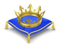 Het koninklijke hoofdkussen met kroon Stock Afbeelding