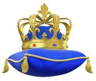 Het koninklijke hoofdkussen met kroon Stock Foto