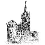 Het Koninklijke kasteel van Koenigsberg Kaliningrad Rusland, hand getrokken graverende vectordieillustratie op wit, wijnoogst wor stock illustratie