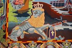 Het koninklijke Tapijtwerk van het Leeuwqueens - Binnenland van Christainsborg-Paleis Kopenhagen stock afbeelding