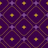 Het koninklijke vector naadloze patroon van de Mardigras fleur DE lis bloem Royalty-vrije Stock Foto's
