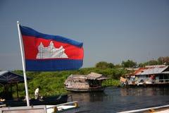 Het koninkrijk van de Vlag van Kambodja Stock Foto's