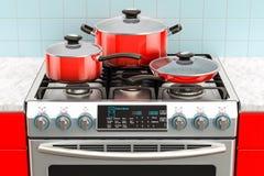 Het kooktoestel van het staalgas met pot, pan en bakpan het 3d teruggeven Stock Foto's
