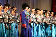 Het koor van de drie vrouwen in het Russische leger Stock Afbeeldingen