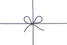 Het koord bond een boog vast die op wit wordt geïsoleerdA stock afbeelding