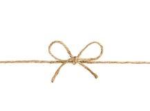 Het koord of de streng bond een boog vast op wit wordt geïsoleerd dat Royalty-vrije Stock Foto