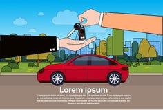 Het kopen Autoconcept met de Nieuwe Eigenaar van Giving Keys To van de Handelaarsagent over Voertuig op Wegachtergrond stock illustratie