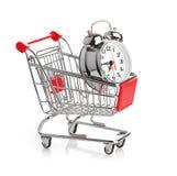 Het kopen tijdconcept met klok Stock Afbeelding