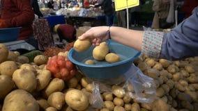 Het kopen van Aardappel in Turkse Bazaar stock footage