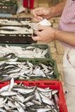 Het kopen verse vissen op markt, vroege ochtend royalty-vrije stock afbeelding