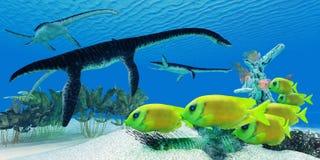 Het Koraalrif van Plesiosaurus vector illustratie