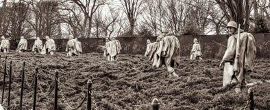 Het Koreaanse Gedenkteken van Oorlogsveteranen in Washington, gelijkstroom, de V.S. Donkere zwarte versie van het schot Stock Afbeeldingen