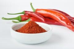 Het Koreaanse poeder van de Spaanse peperpeper en Spaanse peperpeper Royalty-vrije Stock Afbeelding