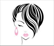Het korte pictogram van de haarstijl, het gezicht van embleemmeisjes Stock Afbeelding