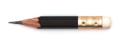 Het korte zwarte potlood isoleert stock foto