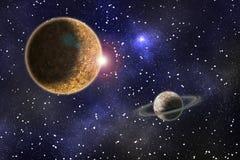 Het kosmische landschap, een denkbeeldige planeet in ruimte royalty-vrije illustratie