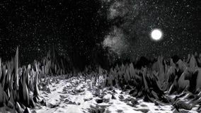 Het kosmische, zwart-wit landschap, milieu van de rotsachtige planeet, detailleerde oppervlaktehulp, science fictionconcept Plane stock illustratie
