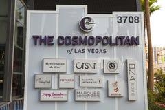 Het kosmopolitische Teken in Las Vegas, NV op 18 Mei, 2013 Stock Foto