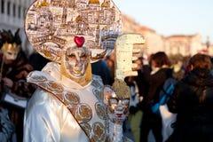 Het kostuum van Carnaval in Venetië, Italië Stock Afbeelding