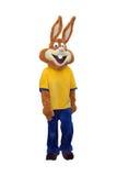 Het kostuum van de konijntjesmascotte op witte achtergrond wordt geïsoleerd die Royalty-vrije Stock Foto