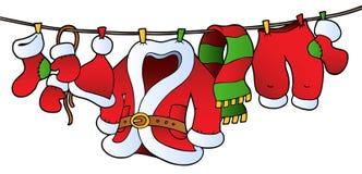Het kostuum van Kerstmis op drooglijn vector illustratie