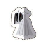 het kostuumhuwelijk van het sticker het kleurrijke silhouet desing vector illustratie