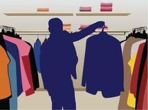 Het kostuumsilhouet van de mens in winkelvector Royalty-vrije Stock Fotografie