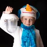 Het kostuumsneeuwman van jongenskerstmis Royalty-vrije Stock Foto