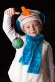 Het kostuumsneeuwman van jongenskerstmis Stock Afbeelding