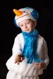Het kostuumsneeuwman van jongenskerstmis Stock Fotografie